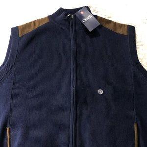 Men's NWT Chaps Sleeveless Full Zip Vest Sweater L